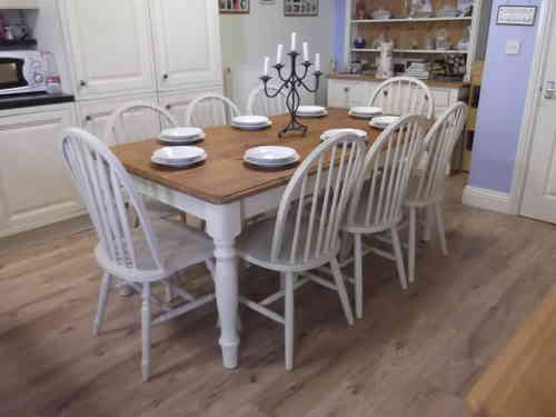 Stunning , large Farmhouse table and 8 chairs # # # SOLD # # #