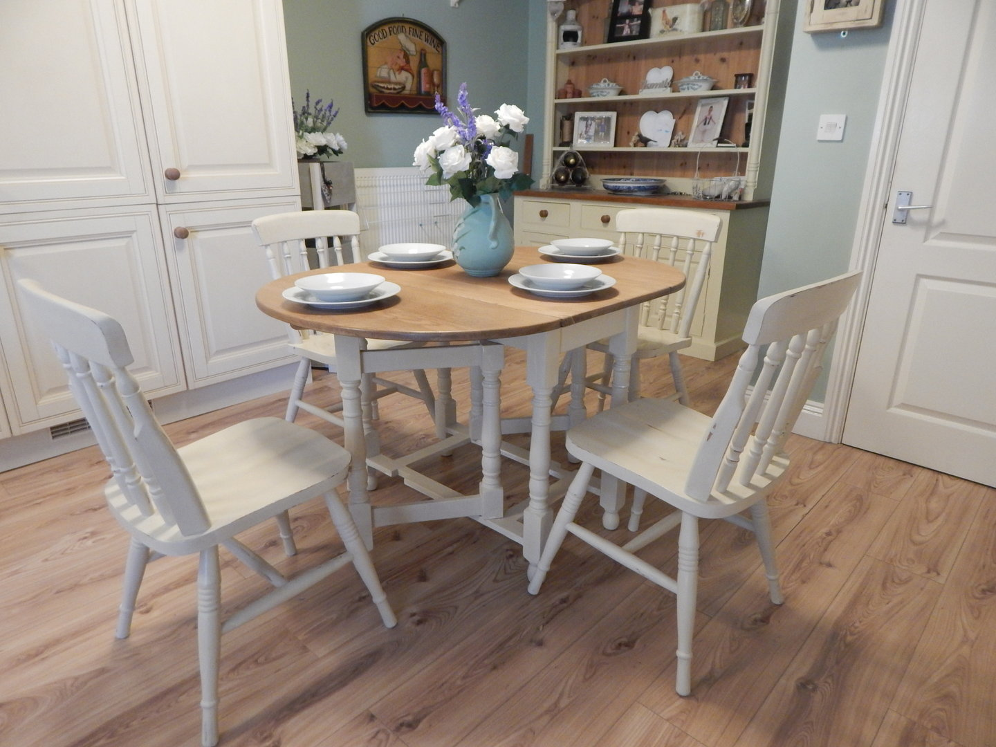 Shabby chic gate leg dining table 4 chairs vintage solid oak sold moonstripe - Shabby chic dining table sets ...