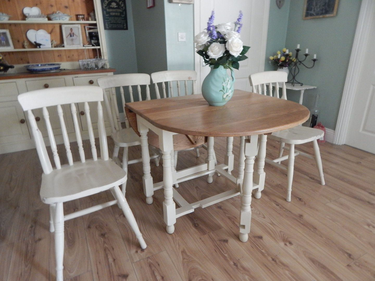 Shabby Chic Gate Leg Dining Table & 4 Chairs , Vintage