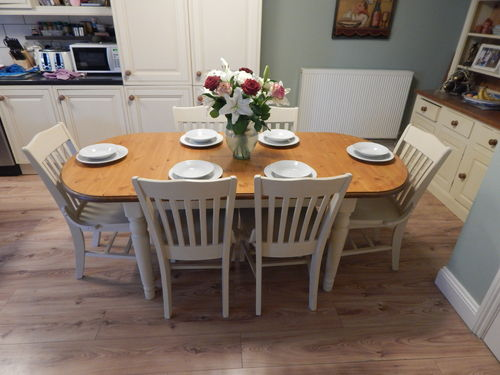 SHABBY CHIC , DUCAL PINE EXTENDING DINING TABLE & 6 CHAIRS # # # SOLD # # #