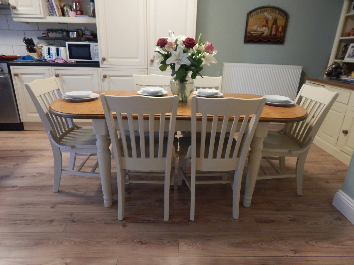 Shabby chic ducal pine extending dining table 6 chairs sold moonstripe - Shabby chic dining table sets ...