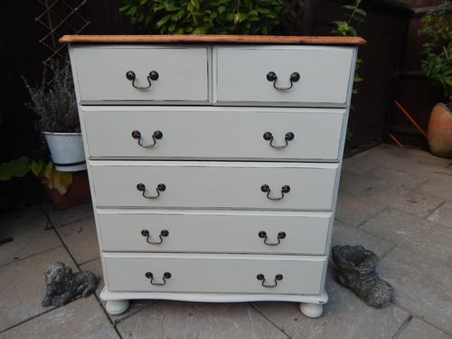 GORGEOUS SHABBY CHIC PINE CHEST OF DRAWERS (6 DRAWER) # # # SOLD # # #