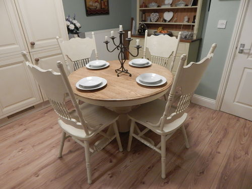 STUNNING SHABBY CHIC SOLID OAK TABLE & 4 CHAIRS # # # SOLD # # #