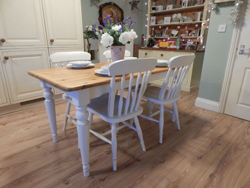 BEAUTIFUL ,SHABBY CHIC, SOLID PINE, DUCAL DINING TABLE & 4 CHAIRS# # # SOLD # # #