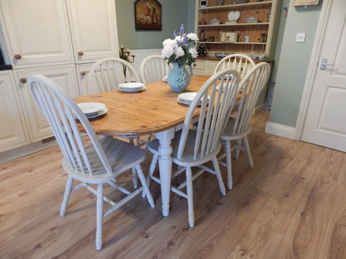 SHABBY CHIC PINE EXTENDING DINING TABLE & 6 GORGEOUS CHAIRS # # # SOLD # # #