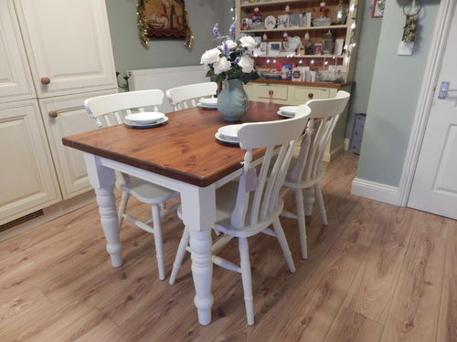 GORGEOUS VINTAGE SHABBY CHIC SOLID PINE TABLE & 4 CHAIRS # # # SOLD # # #