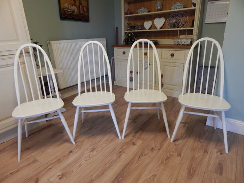 "BEAUTIFULLY ""UPCYCLED"" ERCOL WINDSOR CHAIRS x 4 # # # SOLD # # #"