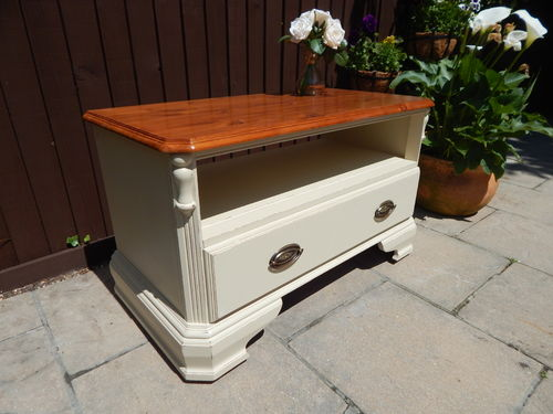 "SOLID PINE TV CABINET BY ""DUCAL"", SHABBY CHIC # # SOLD # #"