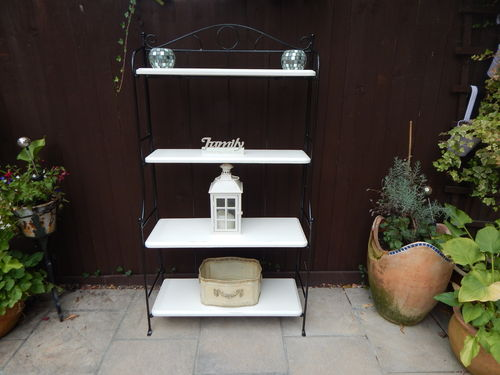 BOOKCASE / SHELVES , WROUGHT IRON AND SOLID PINE , SHABBY CHIC