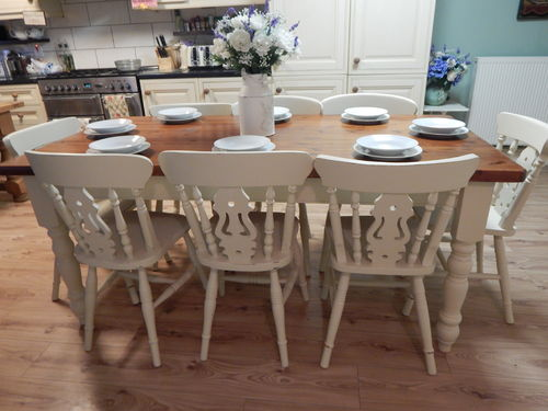GORGEOUS LARGE SOLID PITCH PINE COUNTRY FARMHOUSE TABLE & 8 CHAIRS     # # SOLD # #