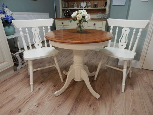 LOVELY SHABBY CHIC BEECH BISTRO TABLE & 2 BEECH CHAIRS # # SOLD # #