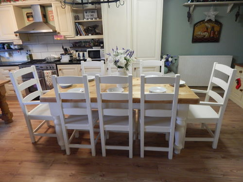 LARGE SOLID PINE FARMHOUSE DINING TABLE & 8 BEECH CHAIRS# # # SOLD # # #