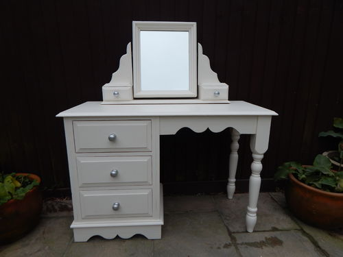 GORGEOUS SOLID PINE SHABBY CHIC DRESSING TABLE & MIRROR SET # # # SOLD # # #