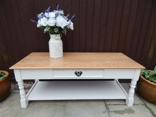 GORGEOUS SHABBY CHIC , SOLID OAK COFFEE TABLE # # # SOLD # # #