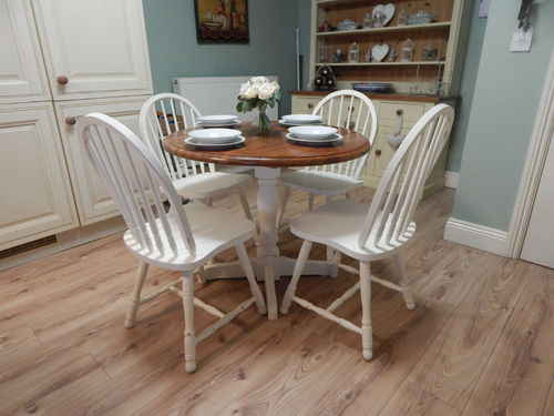 SHABBY CHIC , SOLID BEECH , DROPLEAF DINING TABLE & 4 CHAIRS # # # SOLD # # #