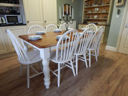 LARGE SOLID BEECH COUNTRY FARMHOUSE DINING TABLE & 8 BEECH WINDSOR CHAIRS # # # SOLD # # #