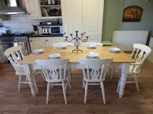 LARGE SOLID PINE COUNTRY FARMHOUSE TABLE & 6 CHAIRS # # # SOLD # # #