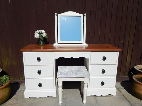SOLID PINE , COUNTRY FARMHOUSE DRESSING TABLE , MIRROR & STOOL SET # # # SOLD # # #