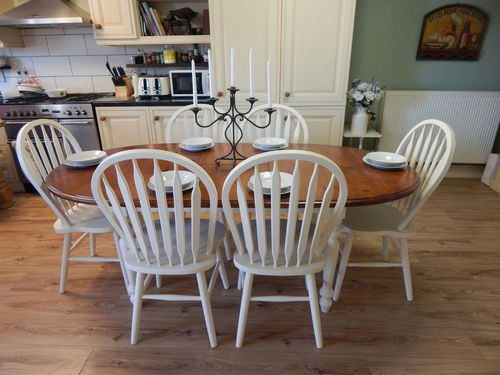 GORGEOUS SHABBY CHIC SOLID PINE EXTENDING FARMHOUSE TABLE & 6 CHAIRS
