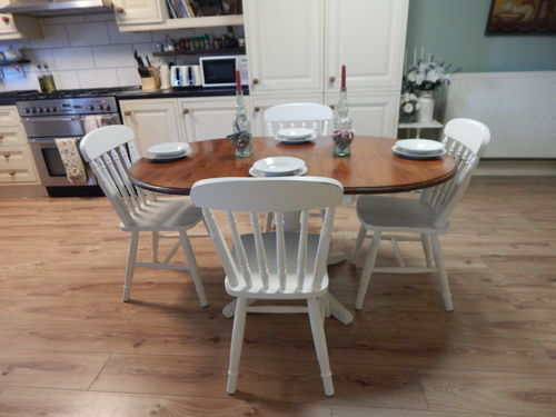 SHABBY CHIC , SOLID PINE, DROPLEAF DINING TABLE & 4 CHAIRS # # # SOLD # # #