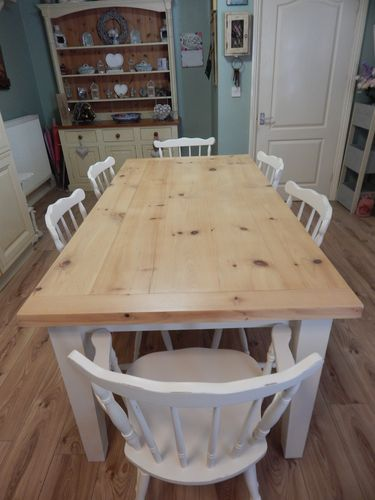 STUNNING LARGE SOLID PINE FARMHOUSE TABLE & 6 BEECH CHAIRS (INC 2 CARVERS) # # # SOLD # # #