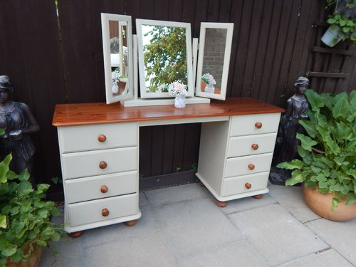 GORGEOUS SHABBY CHIC PINE FARMHOUSE DRESSING TABLE & MIRROR  # # # SOLD # # #