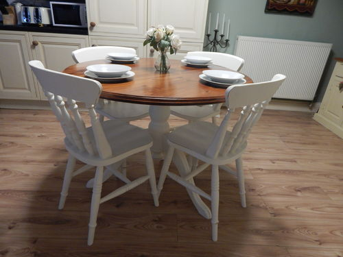 SHABBY CHIC FARMHOUSE PINE DINING TABLE & 4 CHAIRS