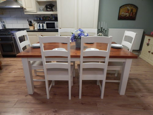 LARGE SOLID PINE COUNTRY FARMHOUSE DINING TABLE and 6 OAK CHAIRS