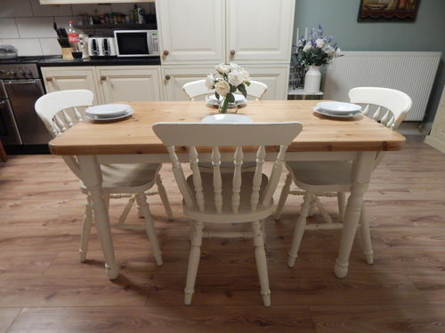 VINTAGE SHABBY CHIC SOLID PINE FARMHOUSE DINING TABLE & 4 CHAIRS