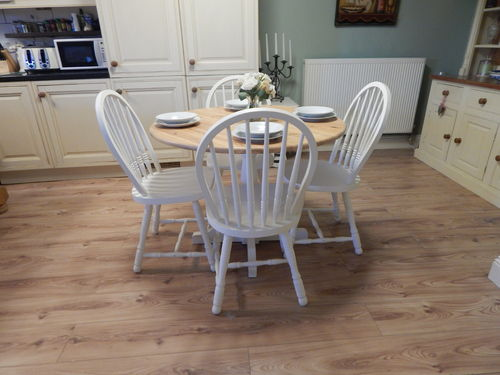 VINTAGE PINE FARMHOUSE DINING TABLE and 4 CHAIRS