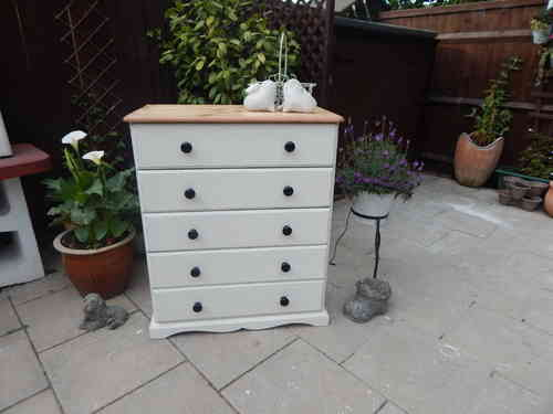 Large , Shabby chic, solid Pine Chest of drawers / Dresser # # # SOLD # # #