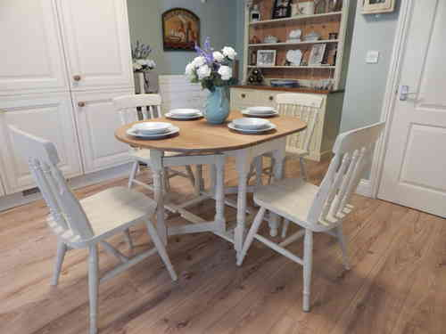 Shabby Chic Gate leg Dining table & 4 chairs , Vintage Solid Oak # # # SOLD # # #