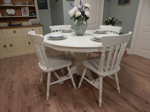 LOVELY SHABBY CHIC FARMHOUSE TABLE AND 4 CHAIRS  # # SOLD # #