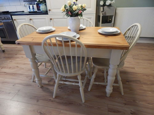 VINTAGE SHABBY CHIC SOLID PINE TABLE & 4 SOLID OAK CHAIRS # # # SOLD # # #