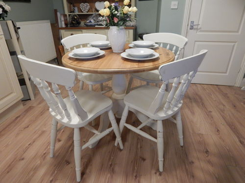 VINTAGE , SHABBY CHIC , SOLID PINE DINING TABLE & 4 CHAIRS  # # SOLD # #