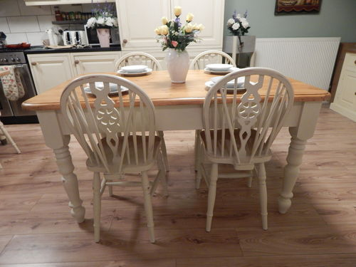 SHABBY CHIC , PINE FARMHOUSE TABLE & 4 CHAIRS # # SOLD # #