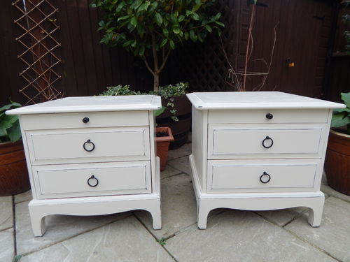 "PAIR OF ""STAG MINSTREL"" SHABBY CHIC BEDSIDE CABINETS # # # SOLD # # #"