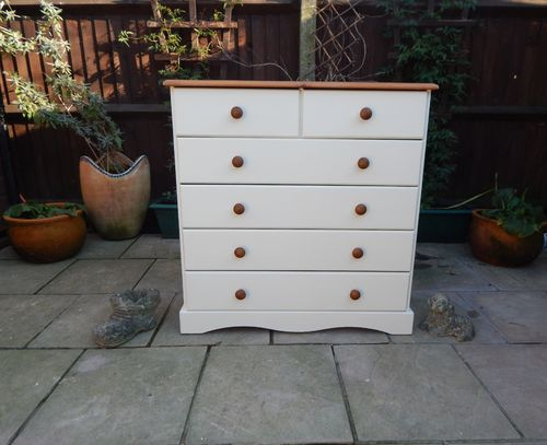GORGEOUS SHABBY CHIC PINE CHEST OF  # # # SOLD # # #
