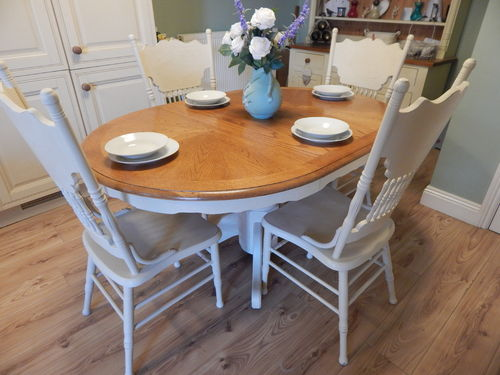 GORGEOUS SHABBY CHIC EXTENDING TABLE & 4 CHAIRS # # SOLD # #