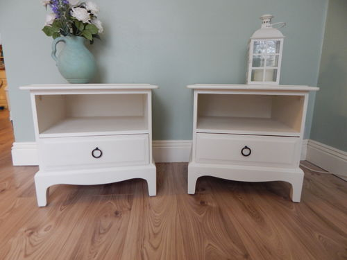 PAIR OF STAG MINSTREL SHABBY CHIC BEDSIDE CABINETS # # SOLD # #