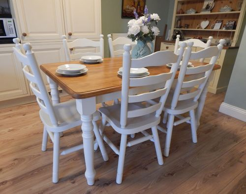 LOVELY SHABBY CHIC SOLID PINE FARMHOUSE TABLE & 6 CHAIRS   # # # SOLD # # #