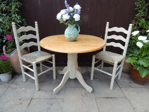 SHABBY CHIC DROPLEAF TABLE & 2 CHAIRS  # # # SOLD # # #