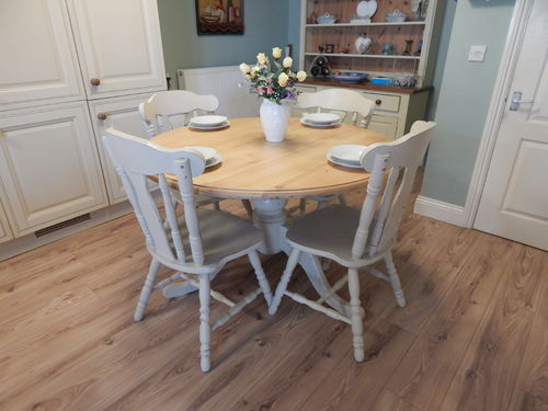 VINTAGE ROUND SOLID PINE SHABBY CHIC TABLE & 4 CHAIRS # # # SOLD # # #
