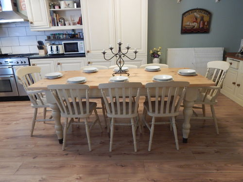 STUNNING LARGE SOLID PINE FARMHOUSE TABLE & 8 CHAIRS # # # SOLD # # #