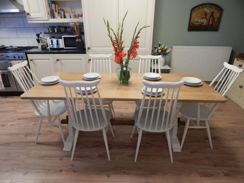 STUNNING LARGE VINTAGE SOLID OAK REFECTORY TABLE & 6 ERCOL GOLDSMITH CHAIRS  # # # SOLD # # #