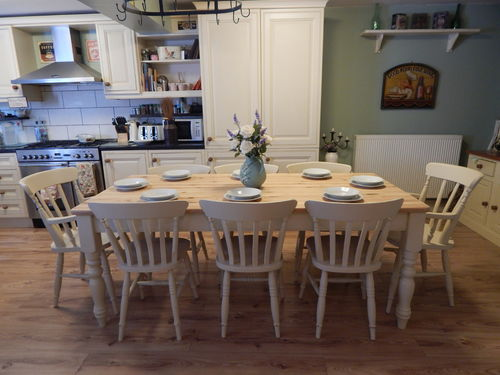 STUNNING LARGE SOLID PINE FARMHOUSE TABLE & 8 SOLID BEECH CHAIRS  # # # SOLD # # #