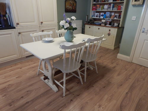GORGEOUS SHABBY CHIC VINTAGE OAK TABLE & 4 OAK CHAIRS    # # # SOLD # # #