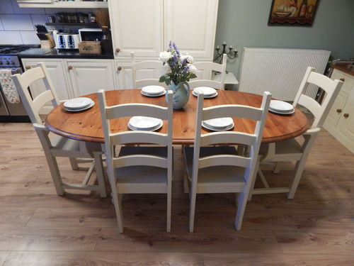 GORGEOUS LARGE SOLID PINE EXTENDING TABLE & 6 LADDERBACK CHAIRS   # # # SOLD # # #