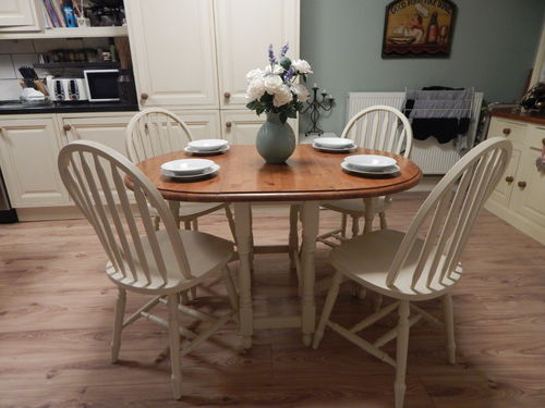 FARMHOUSE SOLID PINE GATELEG DINING TABLE & 4 WINDSOR CHAIRS # # # SOLD # # #