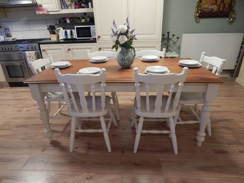 STUNNING LARGE SOLID PINE FARMHOUSE TABLE & 6 CHAIRS # # SOLD # #